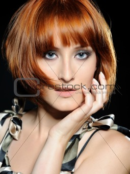 Beautiful red haired woman with fashion bob hairstyle