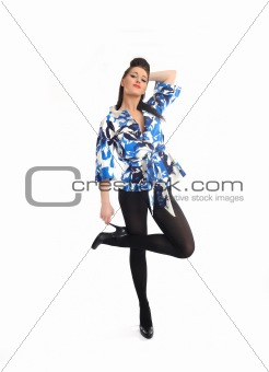 Beautiful sexy fashion model woman dancing.isolated
