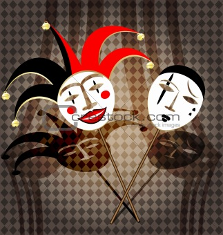two masks clown