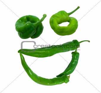 """Smile """"grin"""" composed of green peppers"""
