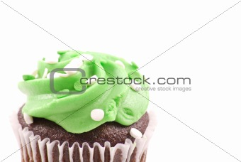 Close Up Details of Green Frosting on Cupcake