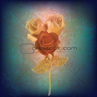 abstract floral illustration with roses on dirty background