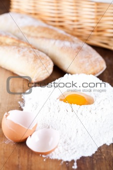bread, eggs and flour