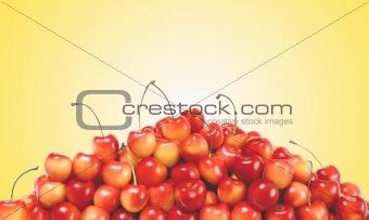 fresh cherry over yellow background