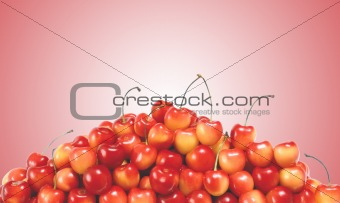fresh cherry over red background