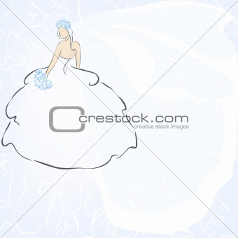 Beautiful wedding invitation with bride. Vector Illustration