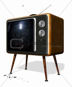 Smashed retro TV