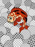 japanese style koi (carp fish) in stylized waves