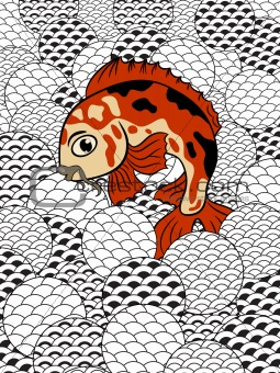 japanese style koi (carp fish) in stylized waves