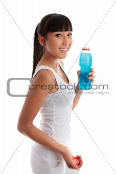 Fit healthy girl with drink