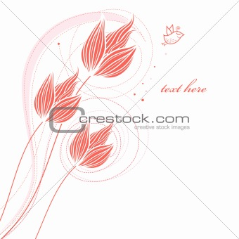 card with decorative tulips
