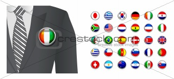 Diplomat with flag badge on white background