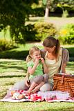 Mother and her daughter picnicking in the park