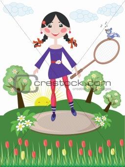 Active girl,tennis