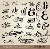 Calligraphic elements and text. Vector set