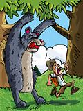 Cartoon of bear scaring a camper