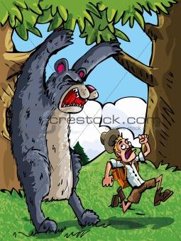 Cartoon of bear scaring a camper