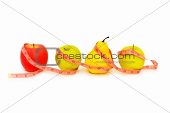 Apples and pear illustrating  fruit dieting concept