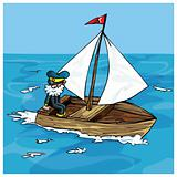 Cartoon of man sailing in a small boat