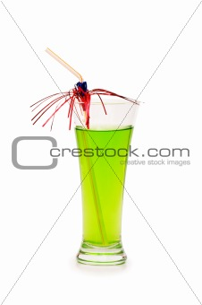 Green apple and juice isolated on the white