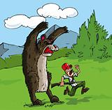 Cartoon of bear attacking a hunter