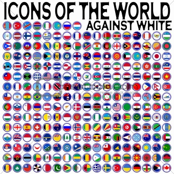 icons of the world against white