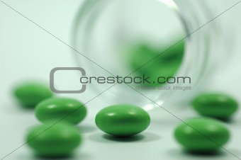 Green Pills with Glass