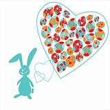 The small bunny and colorful Easter eggs in heart on a orange background