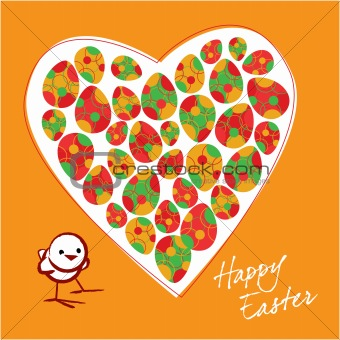 The small chicken and colorful Easter eggs in heart on a orange background