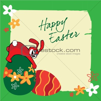 Easter banners with bunnies, colorful eggs, green grass, flowers