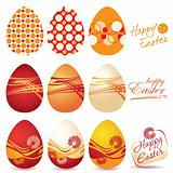 Colorful Easter eggs and logo Happy Easter