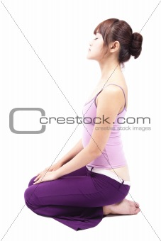 beautiful girl close eye and practicing yoga