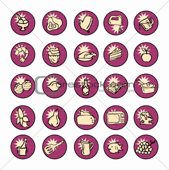 Food Icons and kitchen tools for cooking comic book style