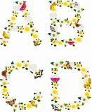 Alphabet of flowers and butterflies-A, B, C, D.