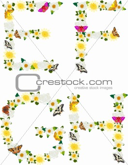 Alphabet of flowers and butterflies-E, F, G, H.