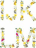 Alphabet of flowers and butterflies-I, J, K, L, M.