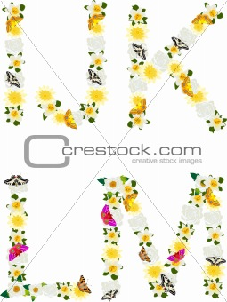 Alphabet of flowers and butterflies-I, J, K, L, M.