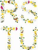Alphabet of flowers and butterflies-R, S, T, U.