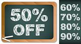Sale Percentages on Blackboard with Chalk. Other percentages in