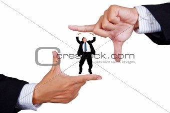Young businessman making a hand frame isolated on white background
