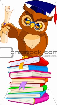 Cartoon Wise Owl with graduation cap and diploma