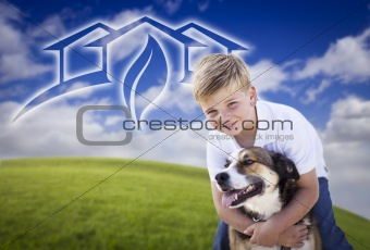Adorable Boy and His Dog Playing Outside with Ghosted Green House Graphic in The Blue Sky.