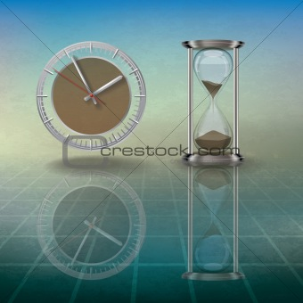 abstract grunge illustration with hourglass and clock