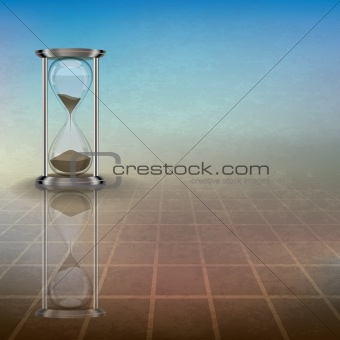 abstract illustration with hourglass on blue