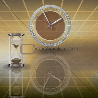 clock and hourglass on brown