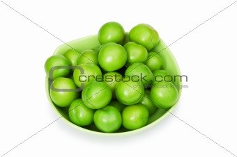 Green plums isolated on the white background