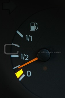 Petrol meter showing low petrol level