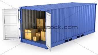 Blue opened container with carton boxes inside