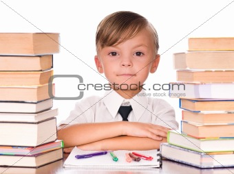 Boy with books