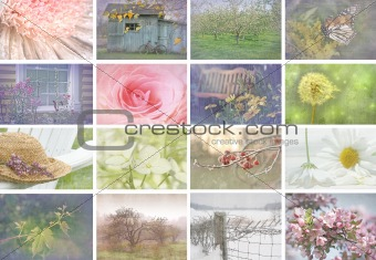 Collage of seasonal images with vintage look
